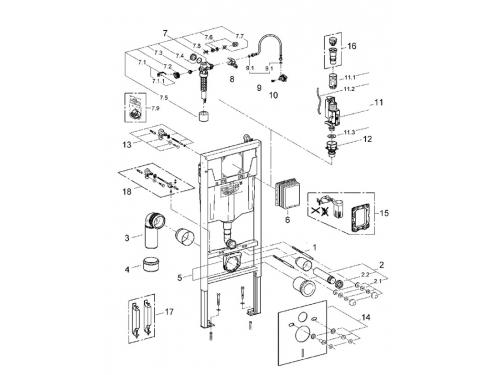 Система инсталляции для унитаза Grohe 38539001 Rapid SL (1,13 м) с принадлежностями для монтажа перед стеной (38539001), вид 2