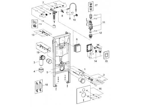 Система инсталляции для унитаза Grohe 38827000 Rapid SL с панелью смыва (3 режима), комплект 5-в-1 (1,13 м) (38827000), вид 2