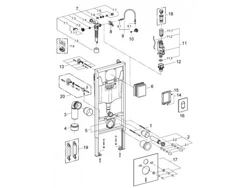 Система инсталляции для унитаза Grohe 38929000 Rapid SL с панелью смыва Arena Cosmopolitan (3 режима) (1,13 м) (38929000), вид 2