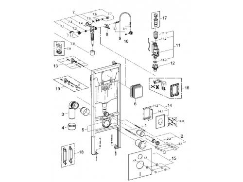 Система инсталляции для унитаза Grohe 38750001 Rapid SL с панелью смыва Skate Air (3 режима), комплект 4-в-1 (1,13 м) (38750001), вид 2