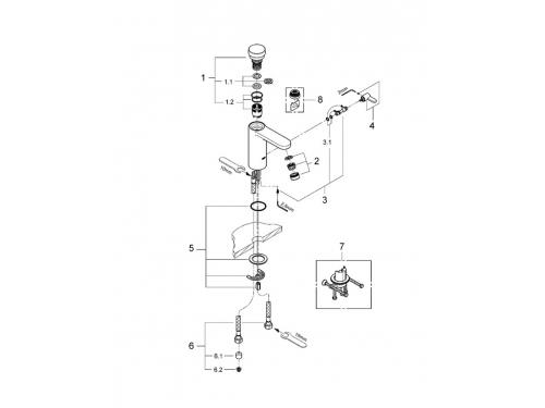 Смеситель для раковины Grohe 36317000 Eurosmart Cosmopolitan S, хром, вид 2