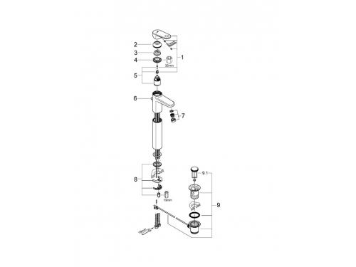 Смеситель для раковины Grohe 32618002 Europlus с донным клапаном, свободностоящий, хром, вид 2