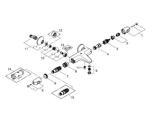 Термостат для ванны Grohe 34155003 Grohtherm 1000 New, хром (34155003), вид 2