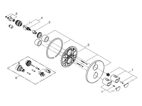 Термостат для душа Grohe 19354001 Grohtherm 2000 (верхняя монтажная часть), хром (19354001), вид 2