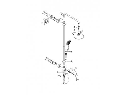 Душевая система Grohe 27911000 Euphoria 190, верхний и ручной душ, без смесителя, хром (27911000), вид 2