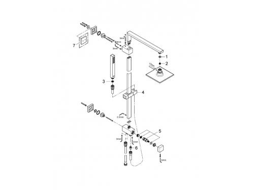 Душевая система Grohe 27696000 Euphoria Cube, верхний и ручной душ, без смесителя, хром, вид 2