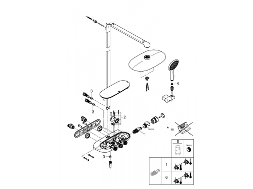 Душевая система Grohe 26250000 Rainshower SmartControl с верхним и ручным душем, хром (26250000), вид 12