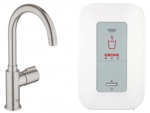 Кухонный смеситель Grohe 30085DC0 Red бойлер 4 л, C-излив, без смешивания, суперсталь (30085DC0), вид 1