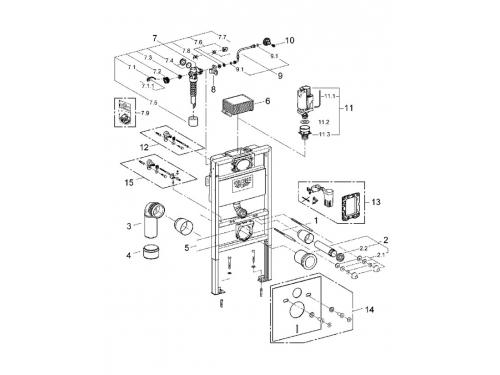 Система инсталляции для унитаза Grohe 38526000 Rapid SL (0,82 м) для монтажа перед стеной (38526000), вид 2