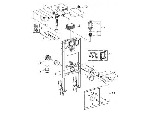 Система инсталляции для унитаза Grohe 38586001 Rapid SL (1 м) (38586001), вид 2