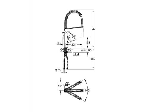 Кухонный смеситель Grohe 31395000 Eurocube профессиональный, хром (31395000), вид 3