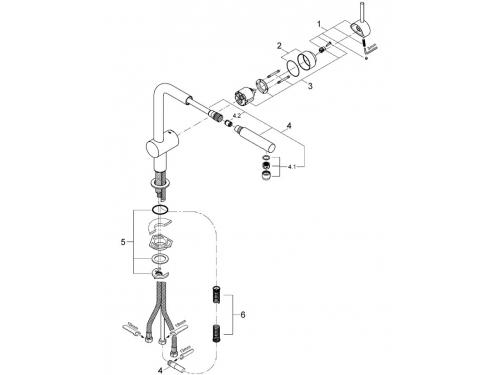 Кухонный смеситель Grohe 32168DC0 Minta с выдвижным изливом, суперсталь (32168DC0), вид 2