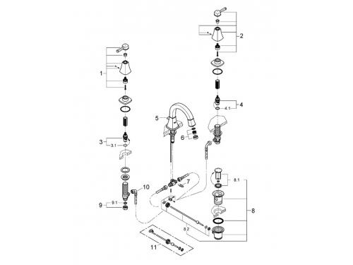 Смеситель для раковины Grohe 20417000 Grandera с донным клапаном и низким изливом, хром (20417000), вид 2