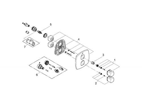 Термостат для ванны Grohe 19934000 Grandera (верхняя монтажная часть), хром (19934000), вид 2