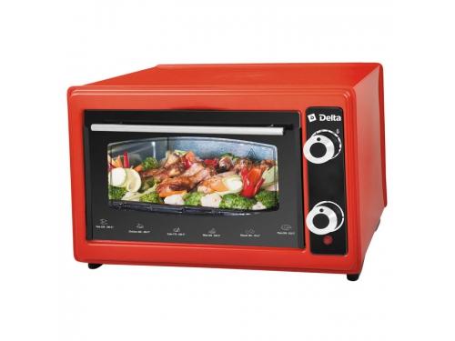 Мини-печь, ростер Delta D-022 37л, красная (рестайлинг), вид 1