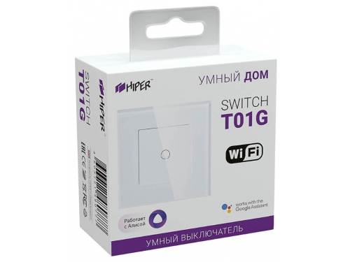 Товар для умного дома Умный Wi-Fi выключатель HIPER IoT Switch T01G, 1 линия, белый, вид 2