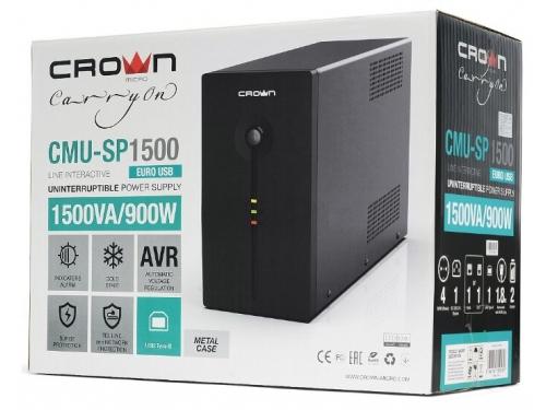 Источник бесперебойного питания CROWN MICRO CMU-SP1500EURO USB 1500VA\900W, вид 4
