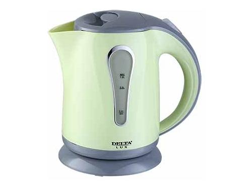 Чайник электрический Delta LUX DL-1008, зеленый с серым, вид 1
