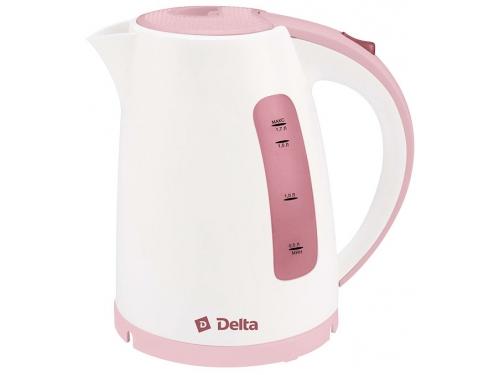 Чайник электрический Delta DL-1056, белый с темно-розовым, вид 1