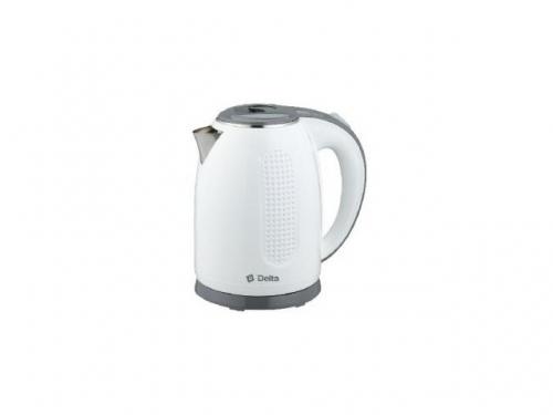 Чайник электрический DELTA DL-1019, белый с серым, вид 1