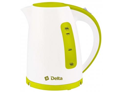 Чайник электрический Delta DL-1056, белый с зеленым, вид 1