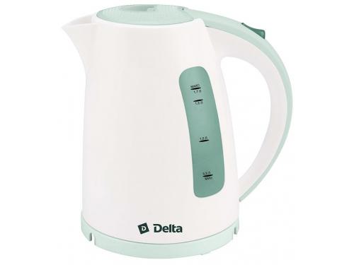 Чайник электрический Delta DL-1056 белый с серо-зеленым, вид 1