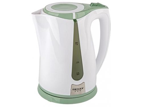 Чайник электрический Delta LUX DL-1015, белый с зеленым, вид 1