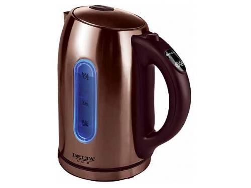 Чайник электрический Delta LUX DL-1007 нержавеющая сталь/коричневый, вид 1