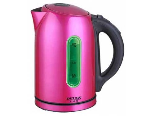 Чайник электрический Delta LUX DL-1007 нержавеющая сталь/малиновый, вид 1