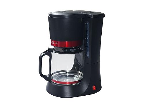 Кофеварка Delta Lux DL-8152, черная с красным, вид 1