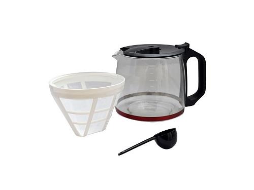 Кофеварка Delta Lux DL-8152, черная с красным, вид 3