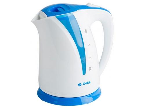 Чайник электрический Delta DL-1327, белый с голубым, вид 1
