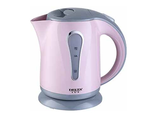 Чайник электрический Delta LUX DL-1008, темно-розовый с серым, вид 1