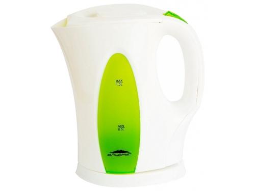 Чайник электрический Эльбрус-3, белый с зелёным, вид 1
