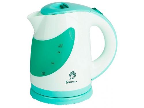 Чайник электрический Василиса Т25 - 2200, белый с зелёным, вид 1