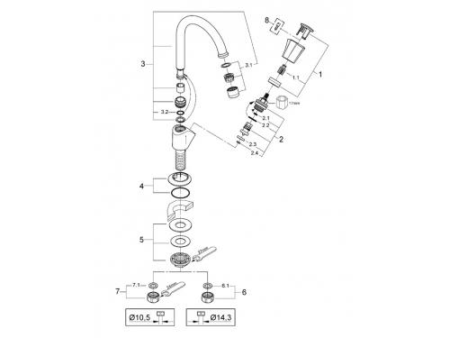 Вентиль для раковины Grohe 20393001 Costa L (без смешивания), хром, вид 2