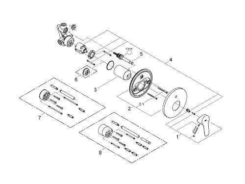 Смеситель для ванны Grohe 29079000 BauEdge (со встраиваемым механизмом), хром, вид 2