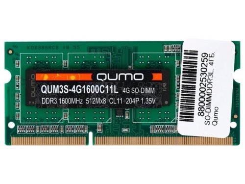 Модуль памяти QUMO QUM3S-4G1600C11L 1600MHz 4GB, вид 1