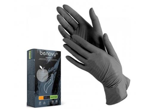 Перчатки смотровые Benovy M, 100 шт, чёрные, вид 1
