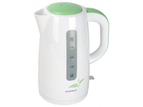 Чайник электрический Supra KES-3013, белый/зеленый, вид 1