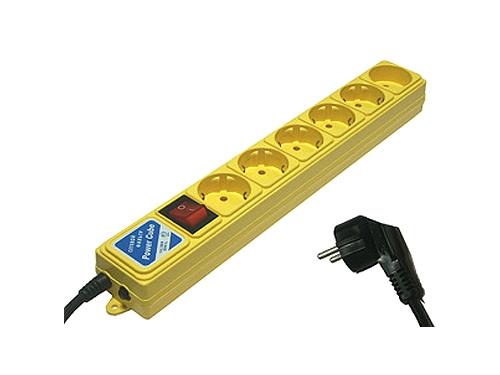 Сетевой фильтр Power Cube B, 6 розеток, 3 м, жёлтый, вид 1