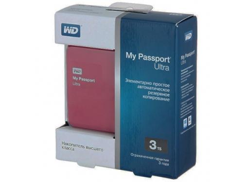 Жесткий диск Western Digital WDBNFV0030BBY-EEUE (3 Тб, 2.5'', внешний, USB3.0), бордовый, вид 1