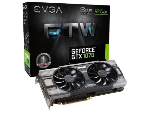 Видеокарта GeForce EVGA PCI-E NV GTX1070 FTW GAMING ACX 3.0 8192Mb 256b DDR5 D-DVI+HDMI 08G-P4-6276-KR, вид 5