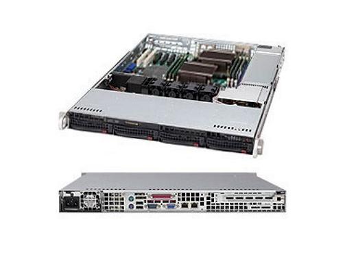 Серверная платформа Supermicro CSE-815TQ-563CB, корпус для сервера (1U, 4x3.5'', 560 Вт), чёрный, вид 1