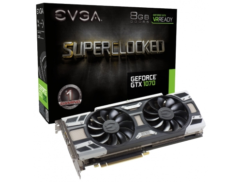 ���������� GeForce EVGA GeForce GTX 1070 1594Mhz PCI-E 3.0 8192Mb 8008Mhz 256 bit DVI HDMI HDCP, SC GAMING ACX 3.0, ��� 5