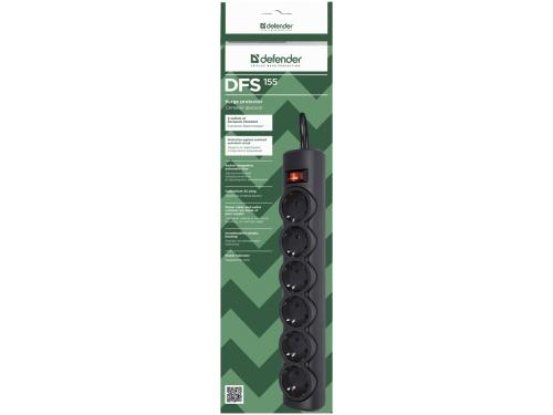 Сетевой фильтр Defender DFS 155, черный, вид 2
