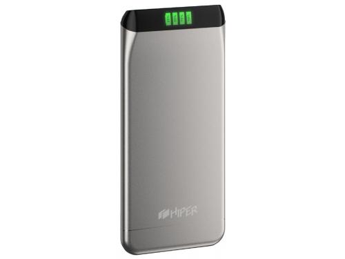 Аксессуар для телефона Hiper SLS6300, портативный аккумуляор, 6300 мАч, 2.1 А, USB, серебристый, вид 1
