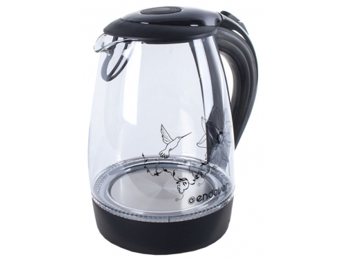 Чайник электрический Endever Skyline KR-307G (стеклянный с рисунком), черный, вид 1