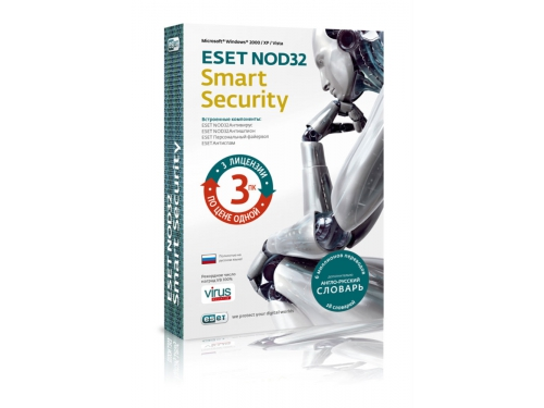 Антивирус ESET NOD32 Smart Security лицензия на 1 год 3-ПК\Продление на 20 мес., вид 1
