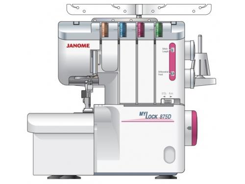 Оверлок Janome M-875D, белый, вид 1